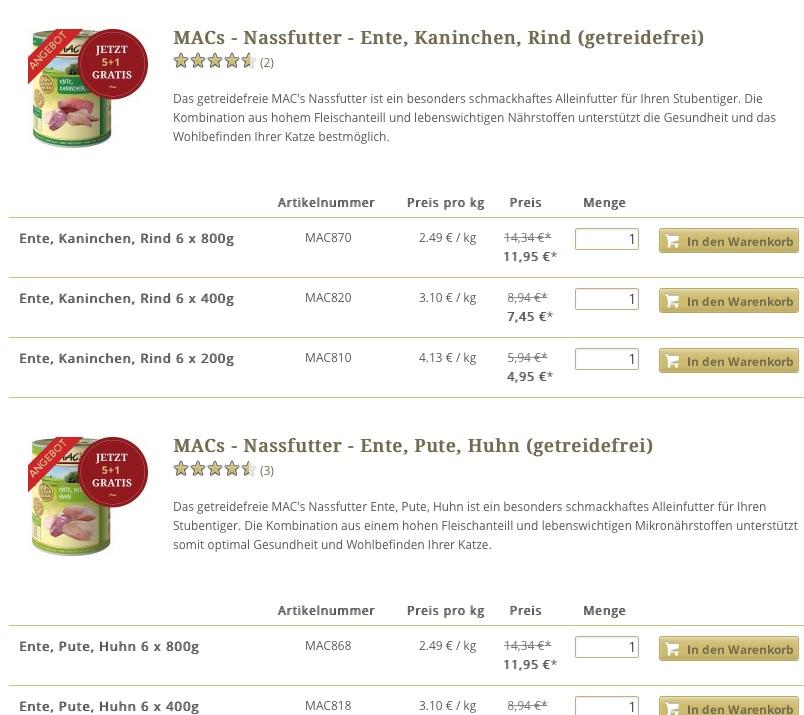 mac 39 s 5 1 nassfutter aktion 1 dose gratis bei pets. Black Bedroom Furniture Sets. Home Design Ideas