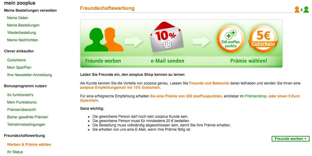 Zooplus Freunde Werben