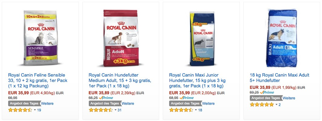 amazon angebot des tages royal canin katzen und hundenahrung bis zu 48 reduziert. Black Bedroom Furniture Sets. Home Design Ideas