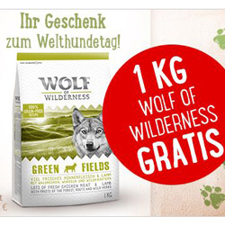1 kg wolf of wilderness hunde trockenfutter gratis zum welthundetag bei zooplus mbw 39. Black Bedroom Furniture Sets. Home Design Ideas