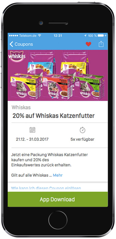 20 cashback auf bis zu 5x whiskas katzenfutter in der coupies app. Black Bedroom Furniture Sets. Home Design Ideas