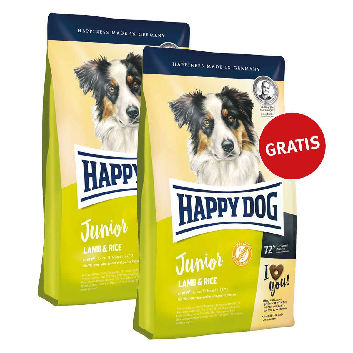zooroyal 1 kg happy dog supreme young trockenfutter kaufen und 1 kg gratis dazu erhalten je. Black Bedroom Furniture Sets. Home Design Ideas