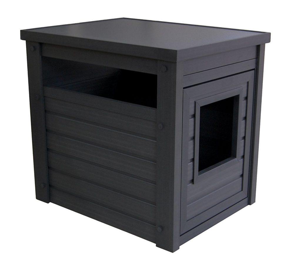 ecoflex katzenklo schrank in schwarz mit ablagefl che f r. Black Bedroom Furniture Sets. Home Design Ideas