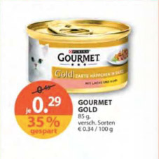 m ller drogerie gourmet gold katzenfutter 85 g dose f r 0 29 im angebot. Black Bedroom Furniture Sets. Home Design Ideas