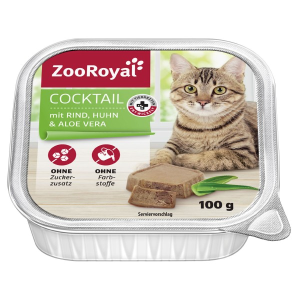zooroyal miau deal des tages katzen nassfutter cocktail mit rind huhn aloe vera 8 x 100 g. Black Bedroom Furniture Sets. Home Design Ideas