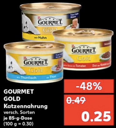 vorank ndigung gourmet gold katzenfutter je 85 g dose f r 0 25 bei kaufland vom. Black Bedroom Furniture Sets. Home Design Ideas